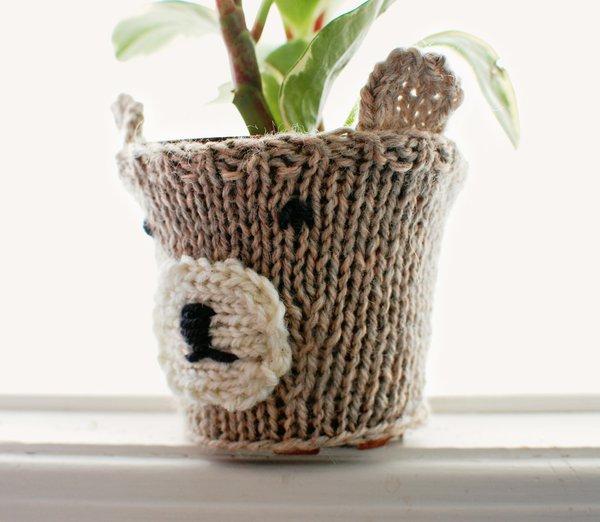 Knit Animal Bear Pot Cozy