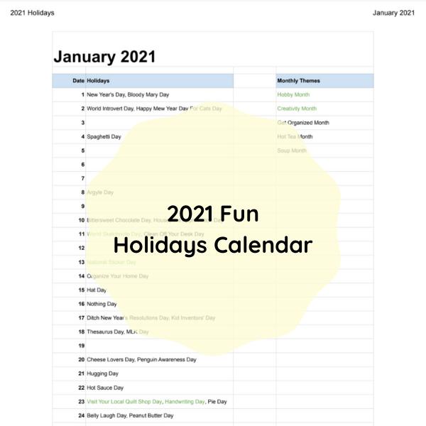 2021 Fun Holidays Calendar