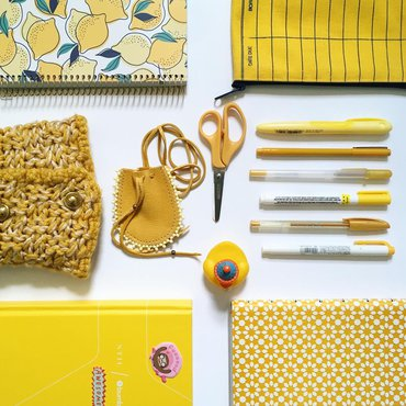 Yellow art and craft supplies