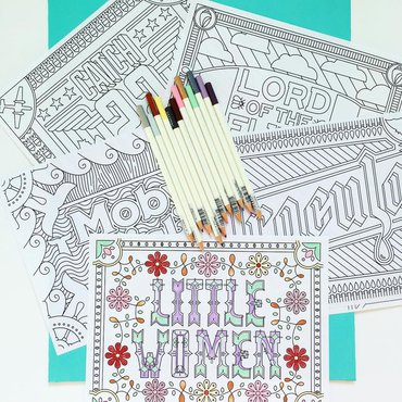 Book themed coloring pages
