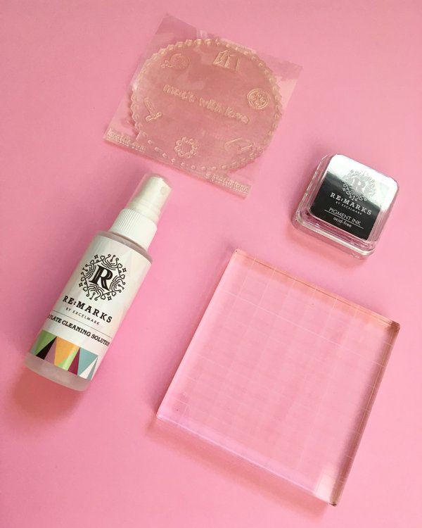 Acrylic clear stamp, acrylic block, pigment ink, and cleaning solution