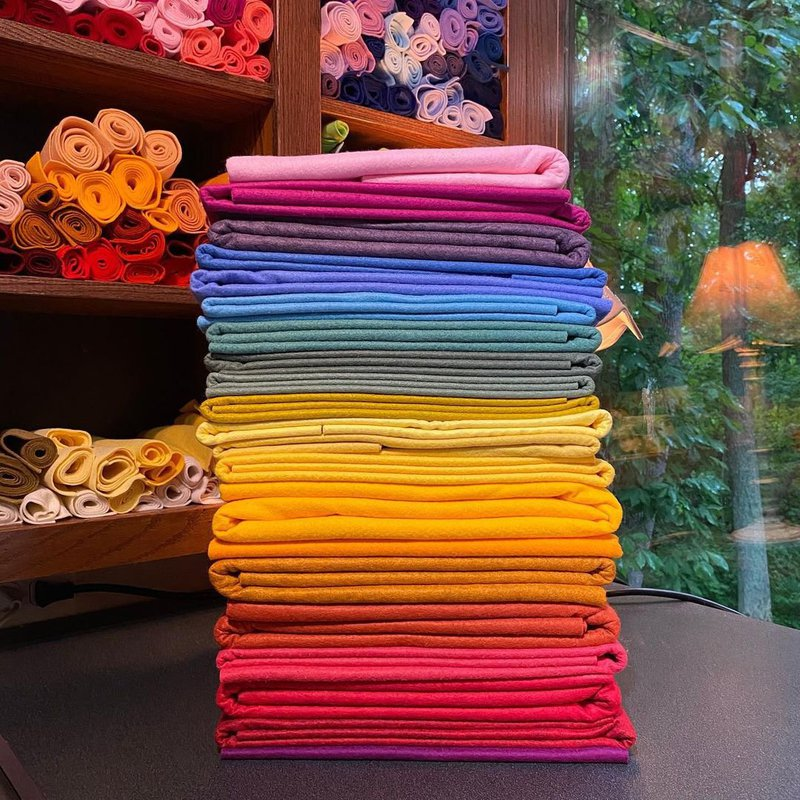 Stack of felt and fabric in a shop