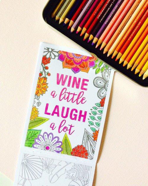 Wine a Little Laugh a Lot Coloring Page