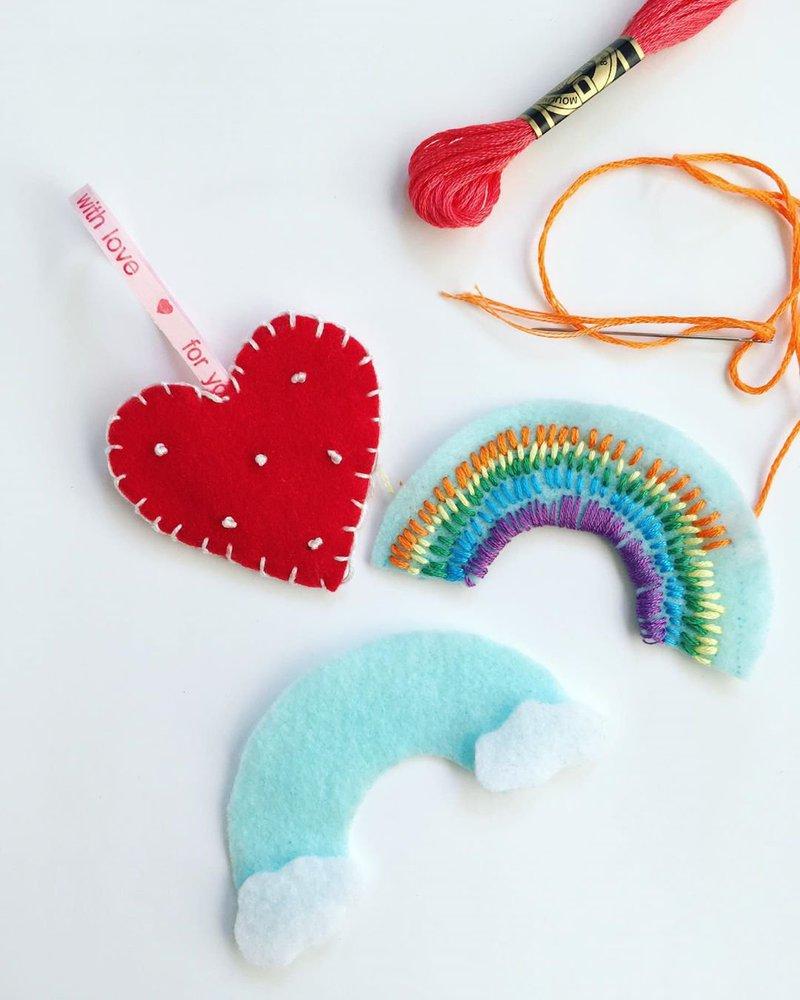 Embroidered heart and rainbow felt ornaments