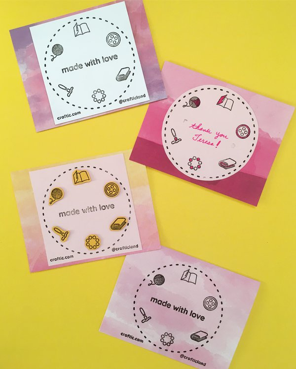 Four stamped handmade cards laid flat