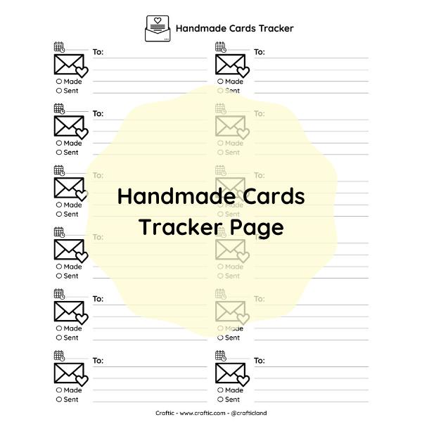 Free printable - Handmade cards tracker page thumbnail