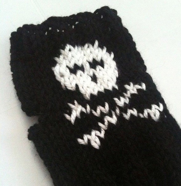 Knit black and white pirate wristwarmers