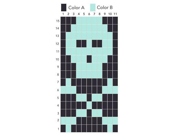 Knit pirate wristwarmers skull grid pattern