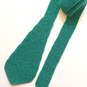 Knit Rolled Teal Tie
