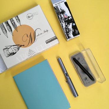 Pen heaven - blue notebook, Fisher space pen, Lamy AL star fountain pen and packaging