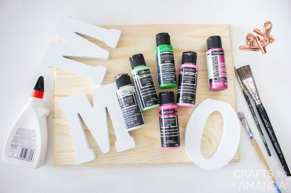 Craft supplies to make photo holder for mom