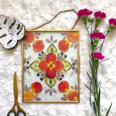 Pressed flowers in a floating frame - finished frame