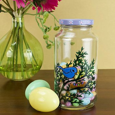Upcycled Easter candy jar