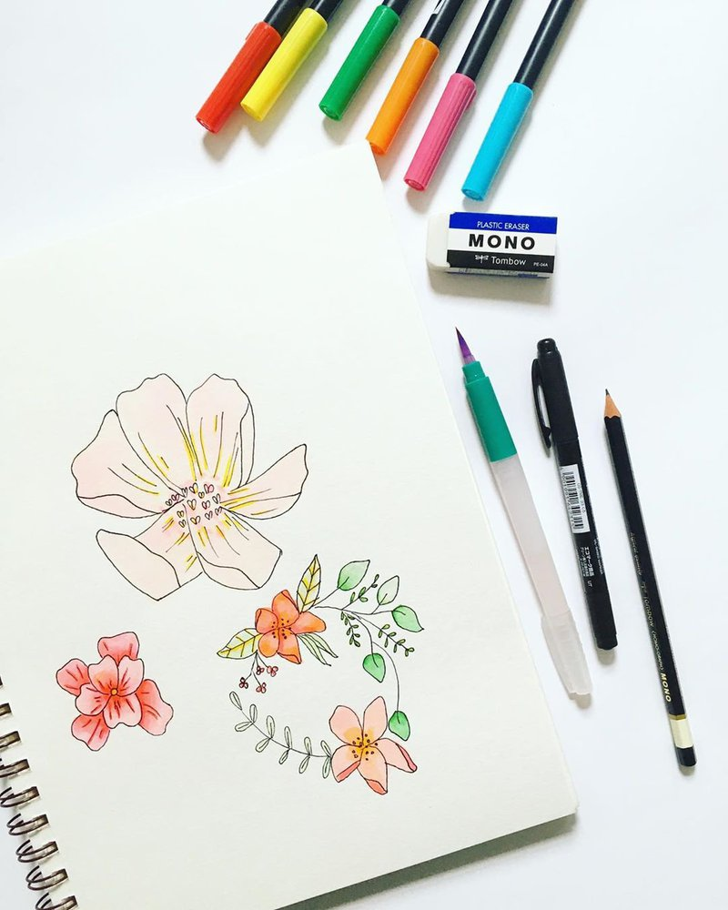 Watercolor flowers with Tombow dual brush pens