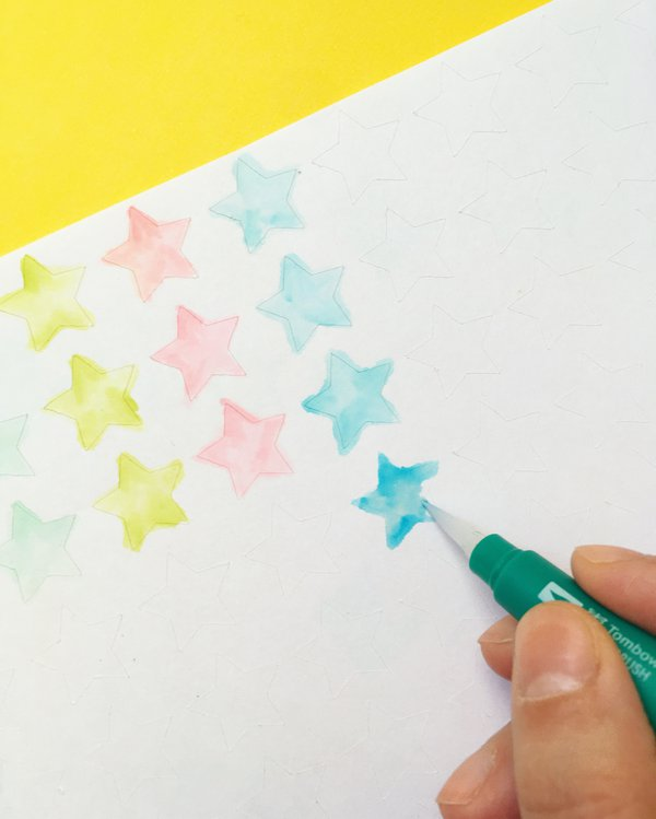 Painting watercolor stickers