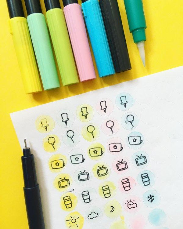 Watercolors sticker sheet