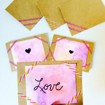 """Valentine's Day watercolor cards - hand lettered """"Love"""" card and 2 watercolor cards with hearts in background"""